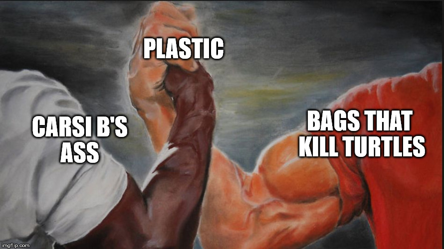 Shared |  PLASTIC; CARSI B'S ASS; BAGS THAT  KILL TURTLES | image tagged in shared | made w/ Imgflip meme maker