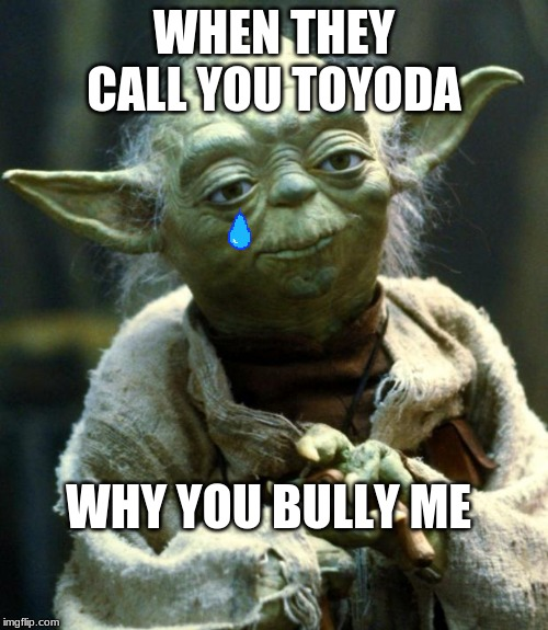 Star Wars Yoda Meme | WHEN THEY CALL YOU TOYODA WHY YOU BULLY ME | image tagged in memes,star wars yoda | made w/ Imgflip meme maker