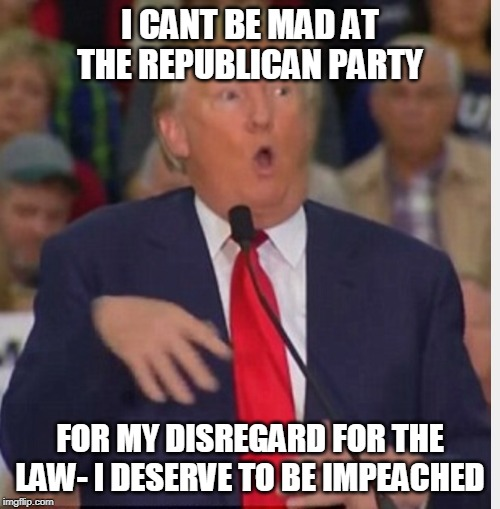 Donald Trump tho | I CANT BE MAD AT THE REPUBLICAN PARTY FOR MY DISREGARD FOR THE LAW- I DESERVE TO BE IMPEACHED | image tagged in donald trump tho | made w/ Imgflip meme maker