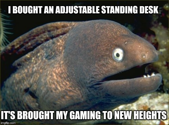 Bad Joke Eel Meme | I BOUGHT AN ADJUSTABLE STANDING DESK IT'S BROUGHT MY GAMING TO NEW HEIGHTS | image tagged in memes,bad joke eel | made w/ Imgflip meme maker