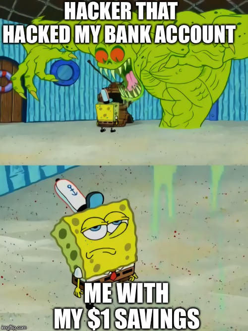 Ghost not scaring Spongebob |  HACKER THAT HACKED MY BANK ACCOUNT; ME WITH MY $1 SAVINGS | image tagged in ghost not scaring spongebob | made w/ Imgflip meme maker