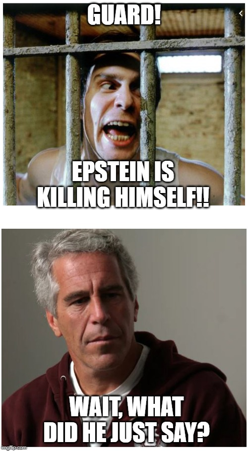 Jeff Epstein | GUARD! WAIT, WHAT DID HE JUST SAY? EPSTEIN IS KILLING HIMSELF!! | image tagged in epstein,killing | made w/ Imgflip meme maker