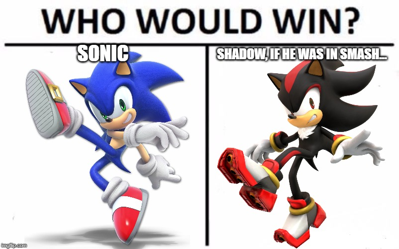 think about it. | SONIC SHADOW, IF HE WAS IN SMASH... | image tagged in memes,who would win,sonic the hedgehog,super smash bros,shadow the hedgehog,hope | made w/ Imgflip meme maker