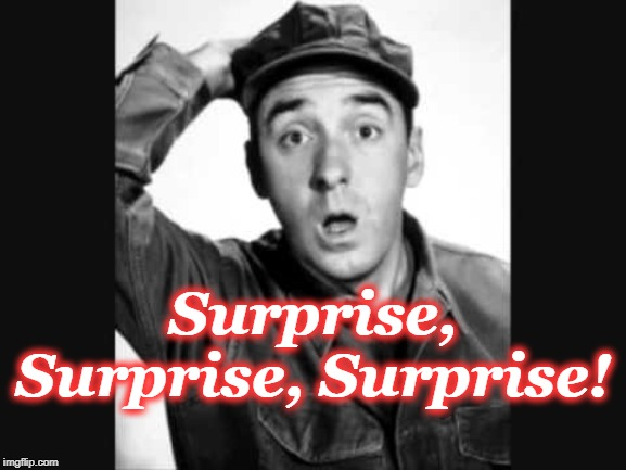 Surprise, Surprise, Surprise! | image tagged in gomer pyle usmc | made w/ Imgflip meme maker