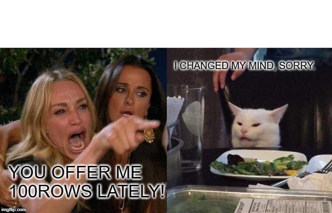 Woman Yelling At Cat Meme |  I CHANGED MY MIND, SORRY. YOU OFFER ME 100ROWS LATELY! | image tagged in memes,woman yelling at a cat | made w/ Imgflip meme maker