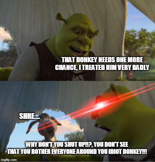 Shrek For Five Minutes |  THAT DONKEY NEEDS ONE MORE CHANCE, I TREATED HIM VERY BADLY; SHRE.... WHY DON'T YOU SHUT UP!!?, YOU DON'T SEE THAT YOU BOTHER EVERYONE AROUND YOU IDIOT DONKEY!!! | image tagged in shrek for five minutes | made w/ Imgflip meme maker