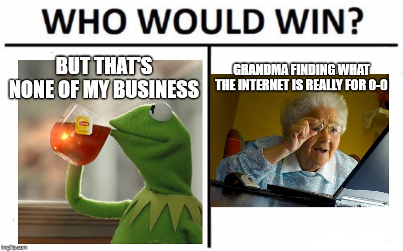 Who Would Win? Meme | BUT THAT'S NONE OF MY BUSINESS GRANDMA FINDING WHAT THE INTERNET IS REALLY FOR 0-0 | image tagged in memes,who would win | made w/ Imgflip meme maker