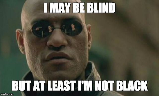 BLIND |  I MAY BE BLIND; BUT AT LEAST I'M NOT BLACK | image tagged in funny memes | made w/ Imgflip meme maker