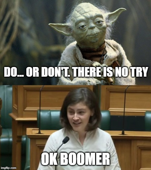 Yoda Boomer | DO... OR DON'T. THERE IS NO TRY OK BOOMER | image tagged in yoda,okboomer,boomer | made w/ Imgflip meme maker