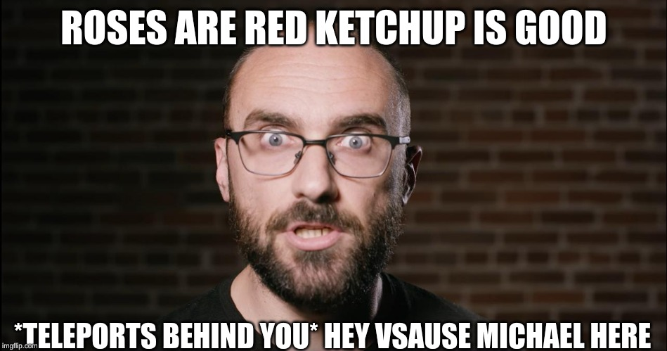 vsause or have they | ROSES ARE RED KETCHUP IS GOOD *TELEPORTS BEHIND YOU* HEY VSAUSE MICHAEL HERE | image tagged in vsause or have they | made w/ Imgflip meme maker