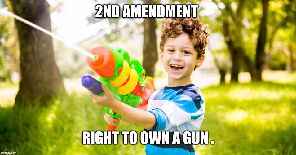 2ND AMENDMENT RIGHT TO OWN A GUN . | image tagged in watergun | made w/ Imgflip meme maker