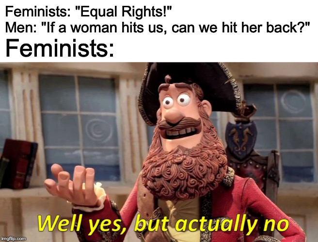 "Well Yes, But Actually No |  Feminists: ""Equal Rights!"" Men: ""If a woman hits us, can we hit her back?""; Feminists: 