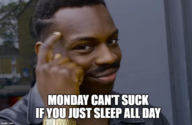 you can't if you don't | MONDAY CAN'T SUCK IF YOU JUST SLEEP ALL DAY | image tagged in you can't if you don't | made w/ Imgflip meme maker