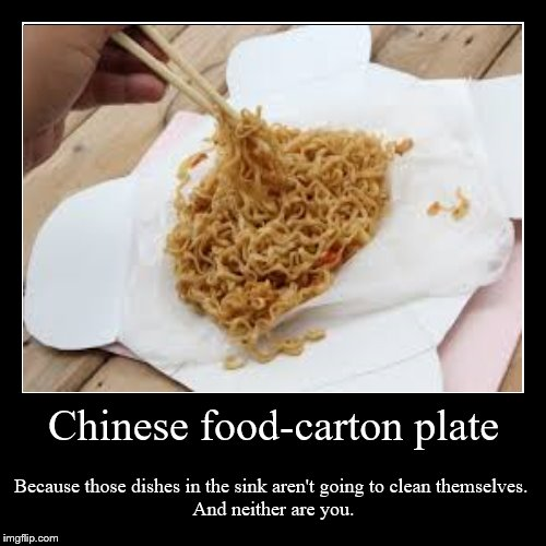 Chinese food-carton plate | Because those dishes in the sink aren't going to clean themselves.  And neither are you. | image tagged in funny,demotivationals | made w/ Imgflip demotivational maker