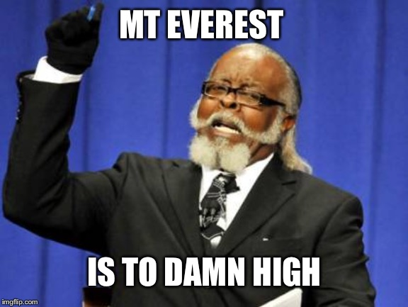 Too Damn High Meme | MT EVEREST IS TO DAMN HIGH | image tagged in memes,too damn high | made w/ Imgflip meme maker