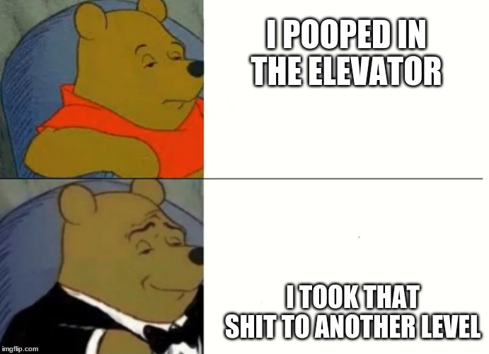Fancy Winnie The Pooh Meme | I POOPED IN THE ELEVATOR I TOOK THAT SHIT TO ANOTHER LEVEL | image tagged in fancy winnie the pooh meme | made w/ Imgflip meme maker