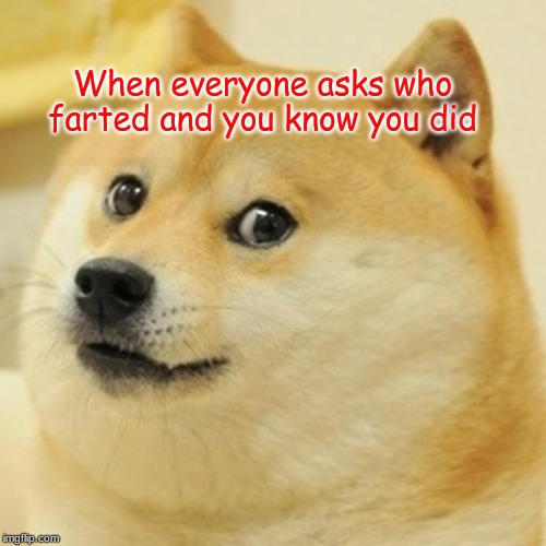 Doge |  When everyone asks who farted and you know you did | image tagged in memes,doge | made w/ Imgflip meme maker