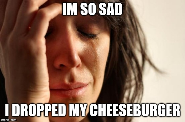 First World Problems Meme | IM SO SAD I DROPPED MY CHEESEBURGER | image tagged in memes,first world problems | made w/ Imgflip meme maker