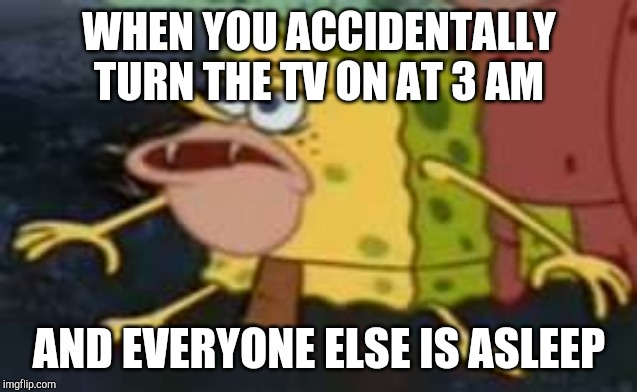 Spongegar Meme | WHEN YOU ACCIDENTALLY TURN THE TV ON AT 3 AM AND EVERYONE ELSE IS ASLEEP | image tagged in memes,spongegar | made w/ Imgflip meme maker