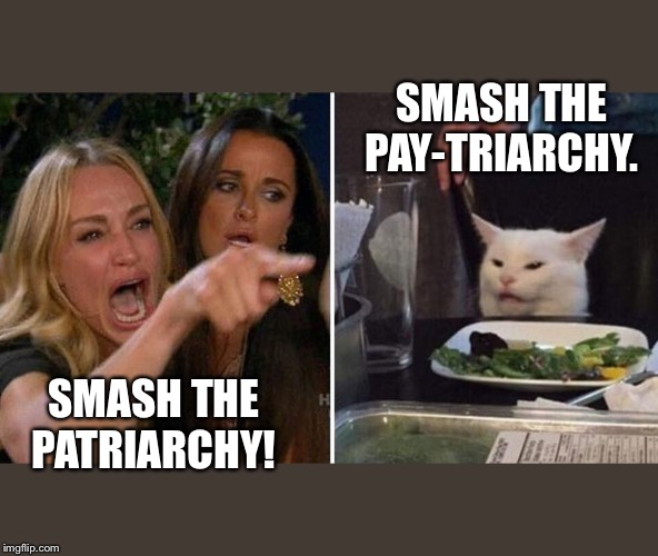 Angry lady cat | SMASH THE PATRIARCHY! SMASH THE PAY-TRIARCHY. | image tagged in angry lady cat | made w/ Imgflip meme maker