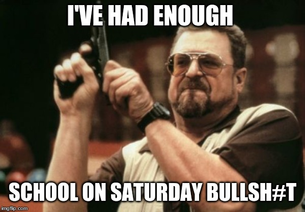 I'VE HAD ENOUGH SCHOOL ON SATURDAY BULLSH#T | image tagged in memes,am i the only one around here | made w/ Imgflip meme maker