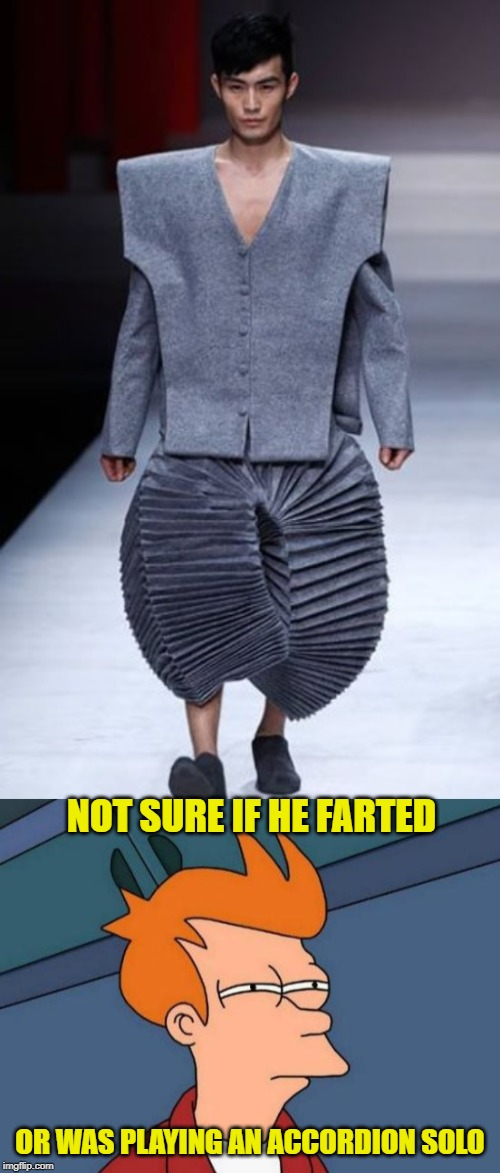 Accordion Pants | NOT SURE IF HE FARTED OR WAS PLAYING AN ACCORDION SOLO | image tagged in memes,futurama fry,funny memes,stupid people,runway fashion | made w/ Imgflip meme maker