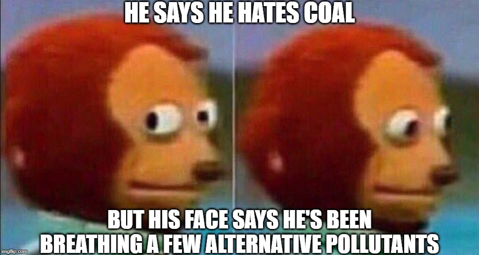 Monkey looking away | HE SAYS HE HATES COAL BUT HIS FACE SAYS HE'S BEEN BREATHING A FEW ALTERNATIVE POLLUTANTS | image tagged in monkey looking away | made w/ Imgflip meme maker