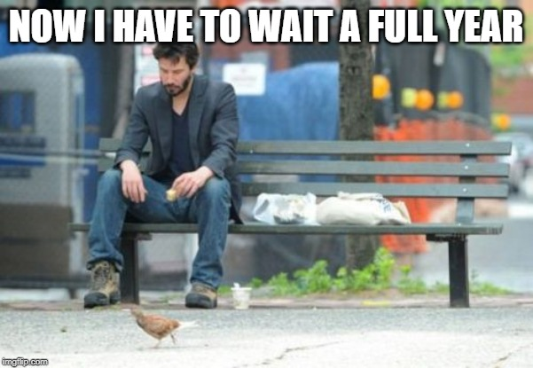 Sad Keanu Meme | NOW I HAVE TO WAIT A FULL YEAR | image tagged in memes,sad keanu | made w/ Imgflip meme maker