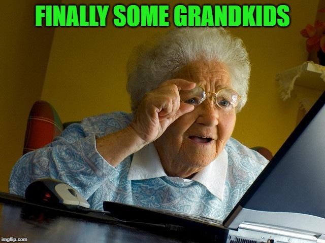 Grandma Finds The Internet Meme | FINALLY SOME GRANDKIDS | image tagged in memes,grandma finds the internet | made w/ Imgflip meme maker
