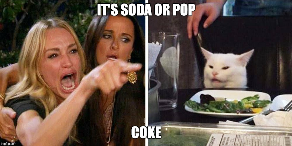 Smudge the cat | IT'S SODA OR POP COKE | image tagged in smudge the cat | made w/ Imgflip meme maker