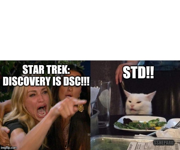 two woman yelling at a cat | STAR TREK: DISCOVERY IS DSC!!! STD!! SSHEPARD | image tagged in two woman yelling at a cat | made w/ Imgflip meme maker