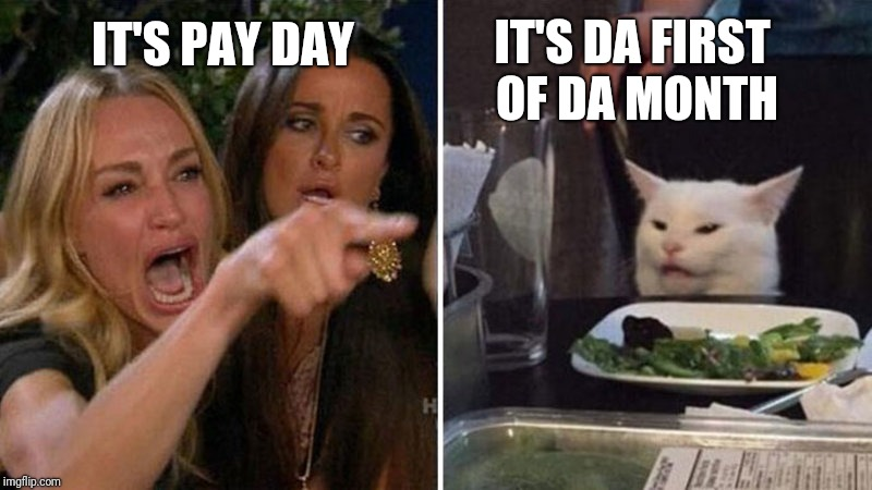 Angry cat at table | IT'S PAY DAY IT'S DA FIRST OF DA MONTH | image tagged in angry cat at table | made w/ Imgflip meme maker