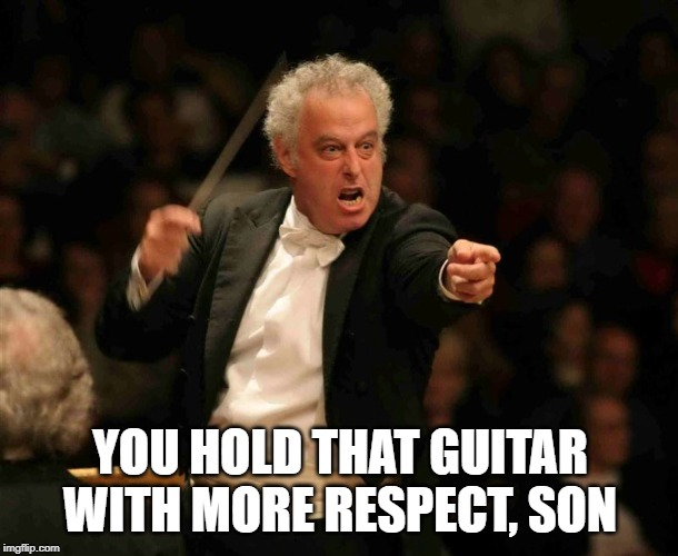 Angry Musician | YOU HOLD THAT GUITAR WITH MORE RESPECT, SON | image tagged in angry musician | made w/ Imgflip meme maker