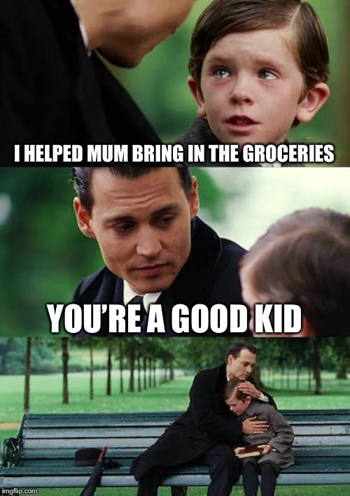 Finding Neverland Meme | I HELPED MUM BRING IN THE GROCERIES YOU'RE A GOOD KID | image tagged in memes,finding neverland | made w/ Imgflip meme maker