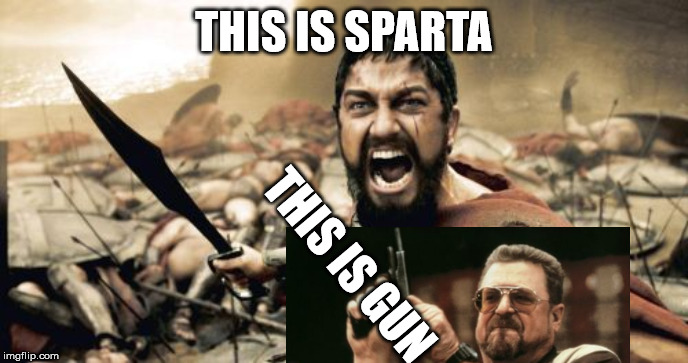 Sparta Leonidas Meme | THIS IS SPARTA THIS IS GUN | image tagged in memes,sparta leonidas | made w/ Imgflip meme maker