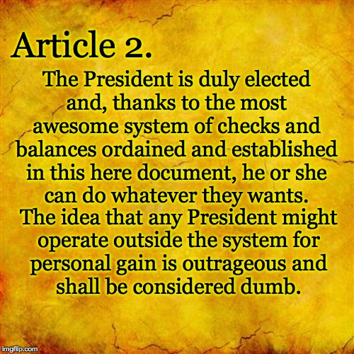 If this is how you read it, you may be a idgit. | Article 2. The President is duly elected and, thanks to the most awesome system of checks and balances ordained and established in this here | image tagged in memes,us constitution,article 2,down the tyrant | made w/ Imgflip meme maker