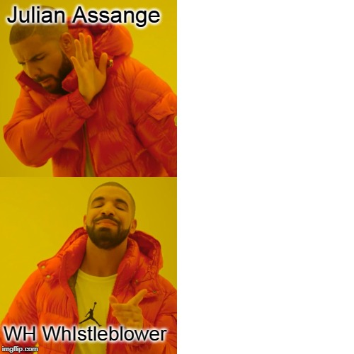 Democrats | Julian Assange WH WhIstleblower | image tagged in memes,drake hotline bling | made w/ Imgflip meme maker