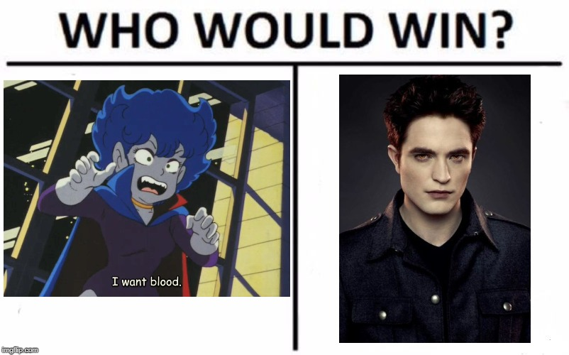 image tagged in who would win,anime,twilight,edward,vampire | made w/ Imgflip meme maker