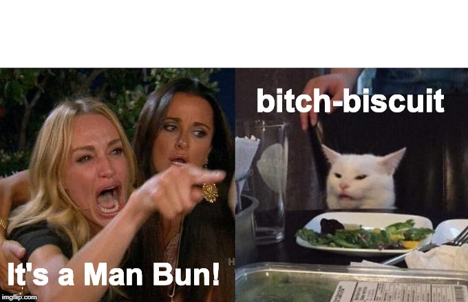 Bitch Biscuit | It's a Man Bun! b**ch-biscuit | image tagged in memes,woman yelling at cat,funny memes,bitch,man bun | made w/ Imgflip meme maker