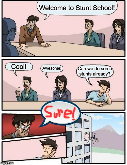 Boardroom Meeting Suggestion | Welcome to Stunt School! Cool! Awesome! Can we do some stunts already? | image tagged in memes,boardroom meeting suggestion | made w/ Imgflip meme maker