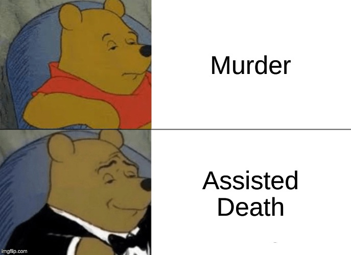 Tuxedo Winnie The Pooh |  Murder; Assisted Death | image tagged in memes,tuxedo winnie the pooh | made w/ Imgflip meme maker