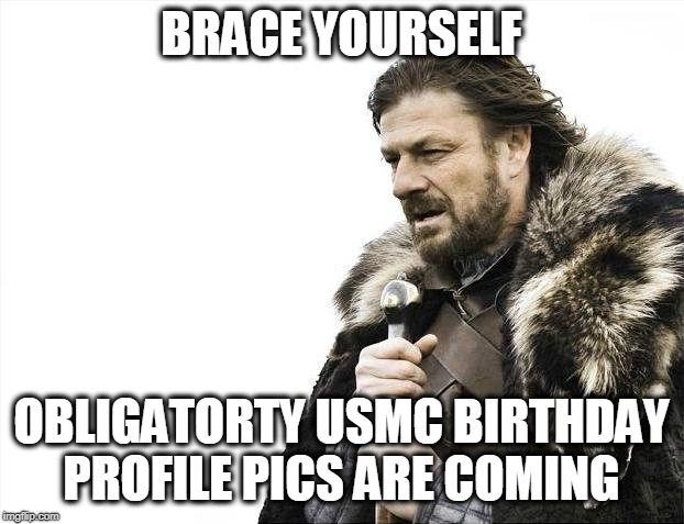 Brace Yourselves X is Coming Meme | BRACE YOURSELF OBLIGATORTY USMC BIRTHDAY PROFILE PICS ARE COMING | image tagged in memes,brace yourselves x is coming | made w/ Imgflip meme maker
