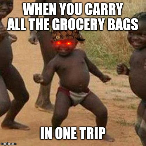 Victory is mine once again! | WHEN YOU CARRY ALL THE GROCERY BAGS IN ONE TRIP | image tagged in memes,third world success kid,funny,victory,grocery store,imgflip | made w/ Imgflip meme maker