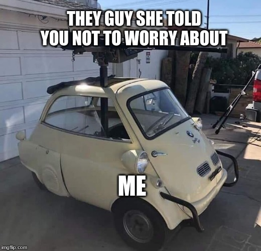 THEY GUY SHE TOLD YOU NOT TO WORRY ABOUT ME | image tagged in mini-gun-mini-car | made w/ Imgflip meme maker
