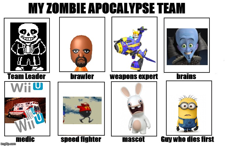 Best team ever | image tagged in my zombie apocalypse team,rabbids,wii u,matt,megamind,minions | made w/ Imgflip meme maker