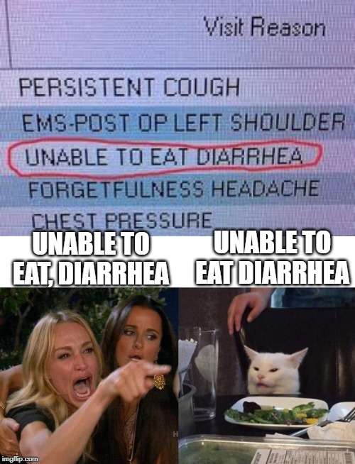 Comma's matter! |  UNABLE TO EAT DIARRHEA; UNABLE TO EAT, DIARRHEA | image tagged in memes,woman yelling at cat,diarrhea,funny | made w/ Imgflip meme maker