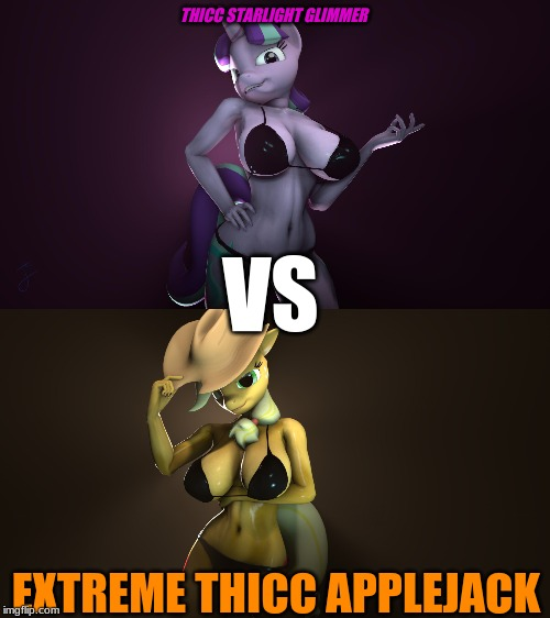 Thicc Starlight VS Extreme Thicc Applejack | THICC STARLIGHT GLIMMER EXTREME THICC APPLEJACK VS | image tagged in starlight glimmer,applejack,mlp fim,sfm,anthro,thicc | made w/ Imgflip meme maker