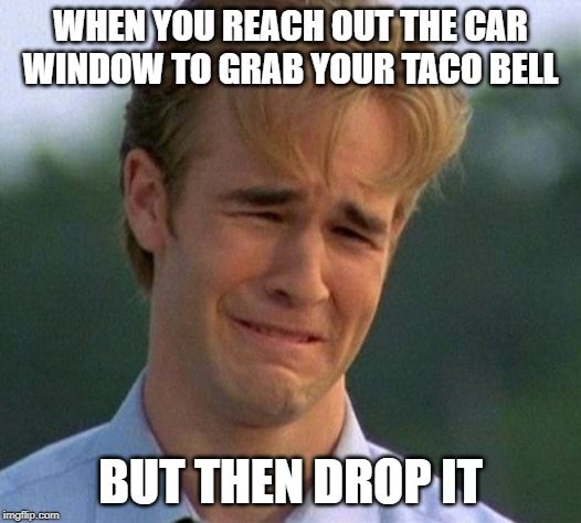 1990s First World Problems |  WHEN YOU REACH OUT THE CAR WINDOW TO GRAB YOUR TACO BELL; BUT THEN DROP IT | image tagged in memes,1990s first world problems | made w/ Imgflip meme maker
