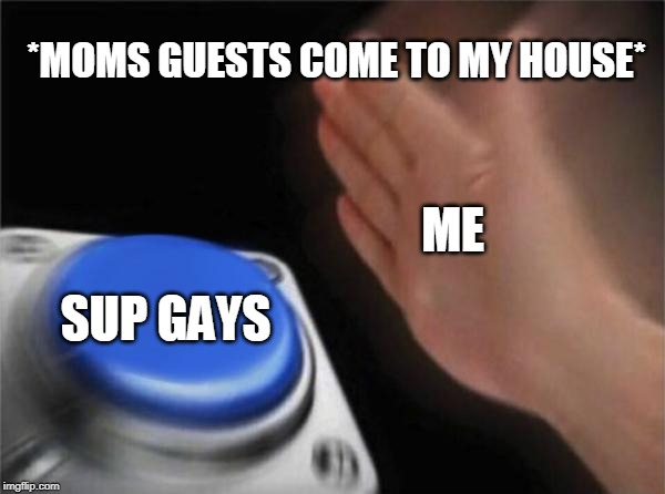 Blank Nut Button Meme | *MOMS GUESTS COME TO MY HOUSE* ME SUP GAYS | image tagged in memes,blank nut button | made w/ Imgflip meme maker