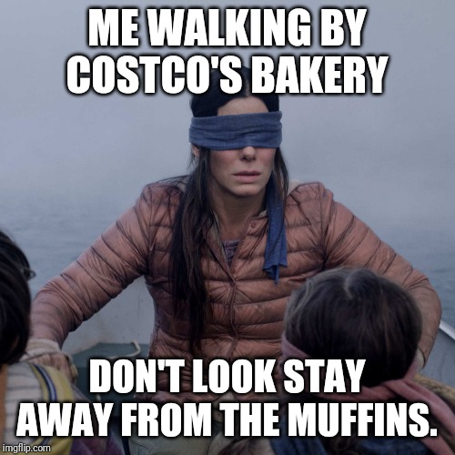 Bird Box Meme | ME WALKING BY COSTCO'S BAKERY DON'T LOOK STAY AWAY FROM THE MUFFINS. | image tagged in memes,bird box | made w/ Imgflip meme maker